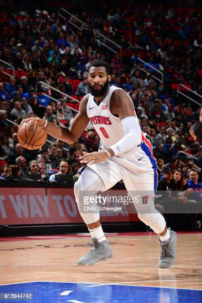 Andre Drummond of the Detroit Pistons handles the ball against the Miami Heat on February 3 2018 at Little Caesars Arena in Detroit Michigan NOTE TO...