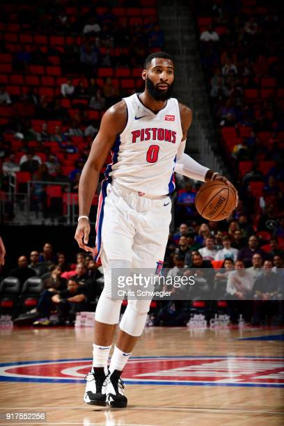 Andre Drummond of the Detroit Pistons handles the ball against the New Orleans Pelicans on February 12 2018 at Little Caesars Arena in Detroit...