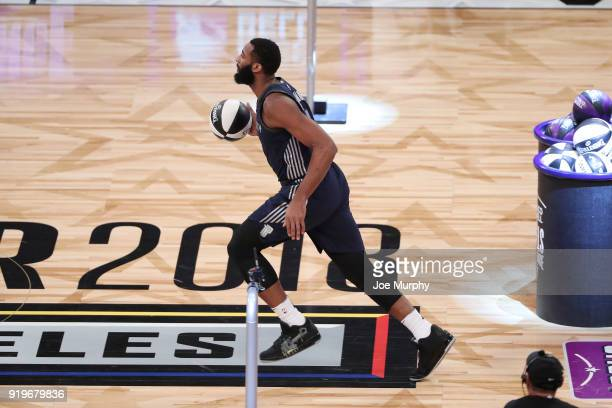 Andre Drummond of the Detroit Pistons handles the ball during the Taco Bell Skills Challenge during State Farm AllStar Saturday Night as part of the...