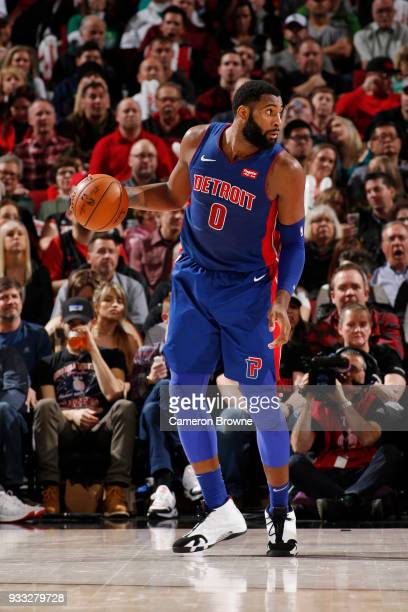Andre Drummond of the Detroit Pistons handles the ball during the game against the Portland Trail Blazers on March 17 2018 at the Moda Center in...