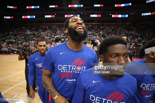 Andre Drummond of the Detroit Pistons looks on before Game Four of Round One against the Milwaukee Bucks during the 2019 NBA Playoffs on April 22...
