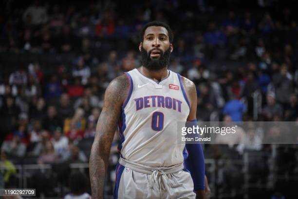 Andre Drummond of the Detroit Pistons looks on during a game against the Philadelphia 76ers on December 23, 2019 at Little Caesars Arena in Detroit,...