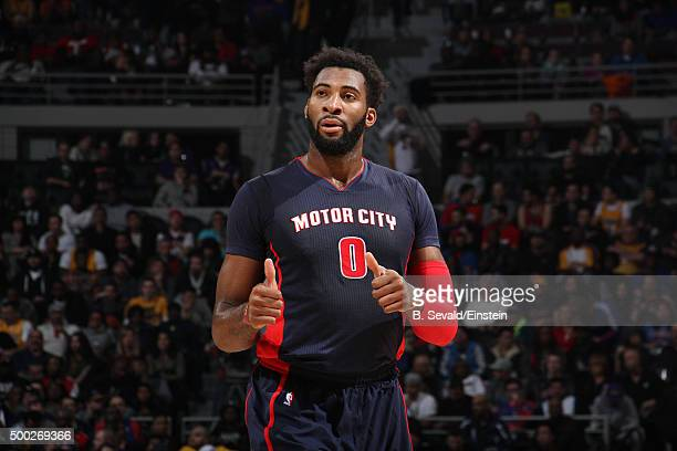 Andre Drummond of the Detroit Pistons looks on during the game against the Los Angeles Lakers on December 6 2015 at The Palace of Auburn Hills in...
