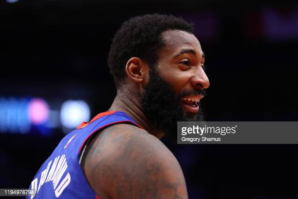 Andre Drummond of the Detroit Pistons looks on while playing the Toronto Raptors at Little Caesars Arena on December 18 2019 in Detroit Michigan NOTE...