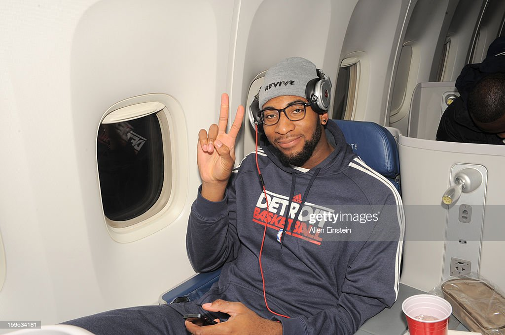 Andre Drummond #1 of the Detroit Pistons on the airplane as the Pistons travel to London for a game against the New York Knicks as part of the NBA London Live 2013 on January 15, 2013 in London, England.