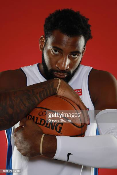 Andre Drummond of the Detroit Pistons poses for a portrait during Media Day at Little Caesars Arena on September 24 2018 in Detroit Michigan NOTE TO...
