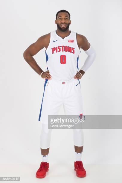 Andre Drummond of the Detroit Pistons poses for a portrait during Media Day on September 25 2017 at the Little Caesars Arena Detroit MI NOTE TO USER...