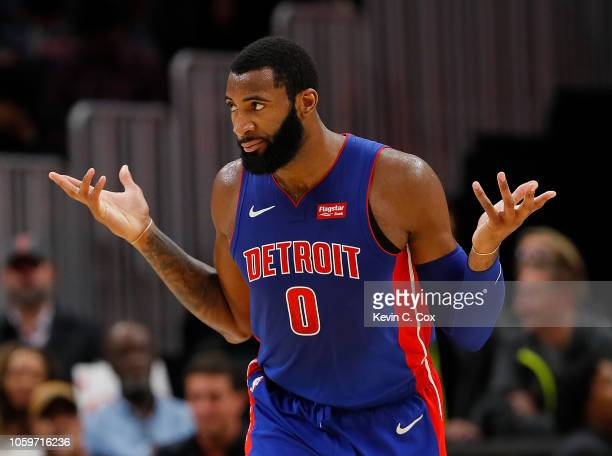 Andre Drummond of the Detroit Pistons reacts after a basket against the Atlanta Hawks at State Farm Arena on November 9 2018 in Atlanta Georgia NOTE...