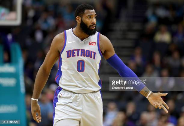 Andre Drummond of the Detroit Pistons reacts after a play against the Charlotte Hornets during their game at Spectrum Center on February 25 2018 in...