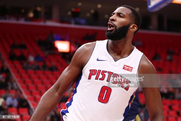 Andre Drummond of the Detroit Pistons reacts after a secondhalf dunk in action against the Indiana Pacers at Little Caesars Arena on November 9 2017...