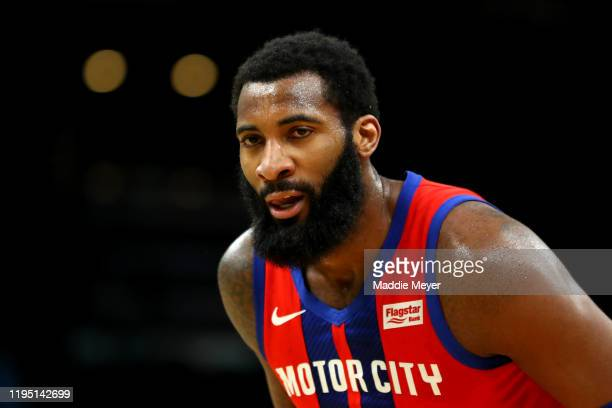 Andre Drummond of the Detroit Pistons reacts after a teammate misses his pass during the first half against the Boston Celtics at TD Garden on...