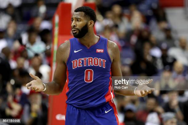 Andre Drummond of the Detroit Pistons reacts to a foul call against the Washington Wizards at Capital One Arena on October 20 2017 in Washington DC...