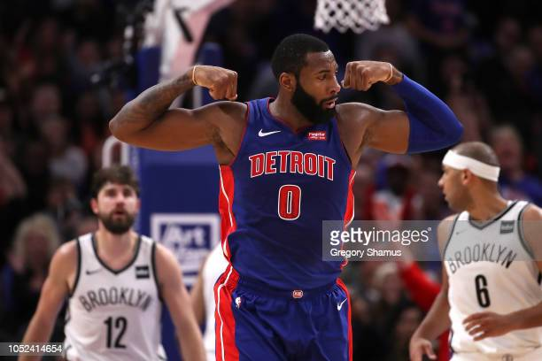 Andre Drummond of the Detroit Pistons reacts to a fourth quarter play while playing the Brooklyn Nets during the home opener at Little Caesars Arena...