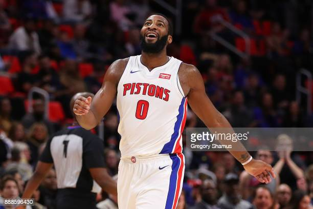 Andre Drummond of the Detroit Pistons reacts to a offensive basket interference call during the first half while playing the Golden State Warriors at...