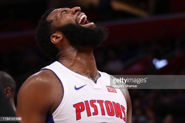 Andre Drummond of the Detroit Pistons reacts to a second half dunk while playing the Minnesota Timberwolves at Little Caesars Arena on March 06 2019...