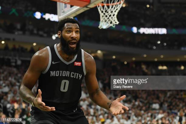 Andre Drummond of the Detroit Pistons reacts to an officials call during Game One of the first round of the 2019 NBA Eastern Conference Playoffs...
