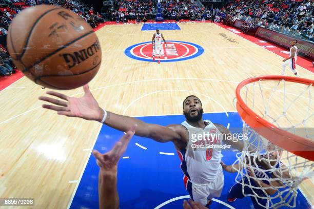 Andre Drummond of the Detroit Pistons rebounds against the Philadelphia 76ers on October 23 2017 at Little Caesars Arena in Detroit Michigan NOTE TO...