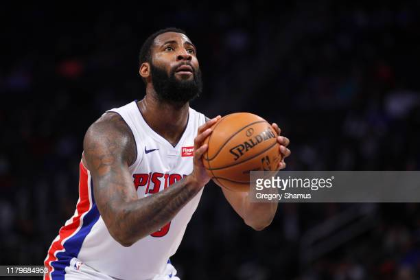 Andre Drummond of the Detroit Pistons shoots a free throw while playing the Orlando Magic during a pre season game at Little Caesars Arena on October...