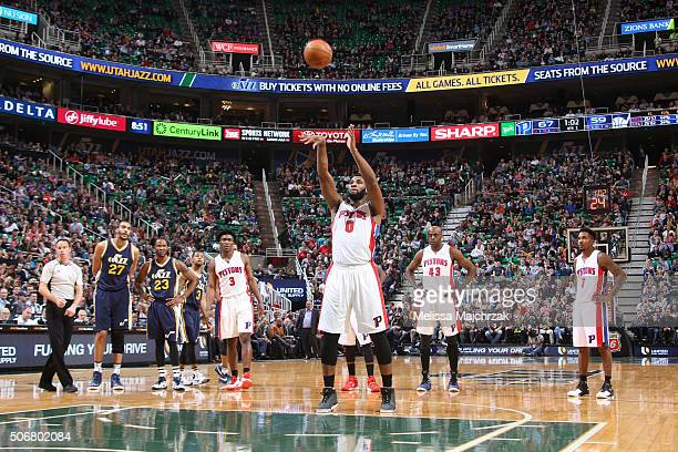 Andre Drummond of the Detroit Pistons shoots against the Utah Jazz during the game on January 25 2016 at Vivint Smart Home Arena in Salt Lake City...