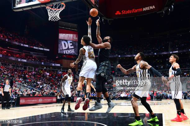 Andre Drummond of the Detroit Pistons shoots the ball against the Atlanta Hawks on February 22 2019 at State Farm Arena in Atlanta Georgia NOTE TO...