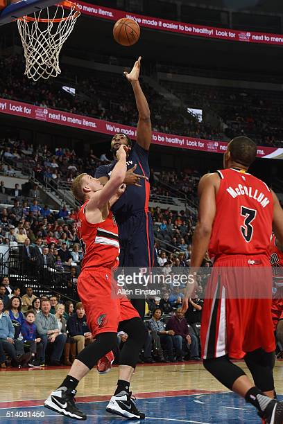 Andre Drummond of the Detroit Pistons shoots the ball against the Portland Trail Blazers on March 6 2016 at The Palace of Auburn Hills in Auburn...
