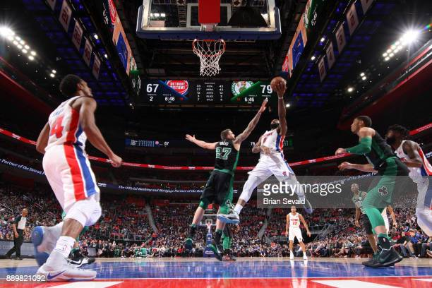 Andre Drummond of the Detroit Pistons shoots the ball against the Boston Celtics on December 10 2017 at Little Caesars Arena in Detroit Michigan NOTE...