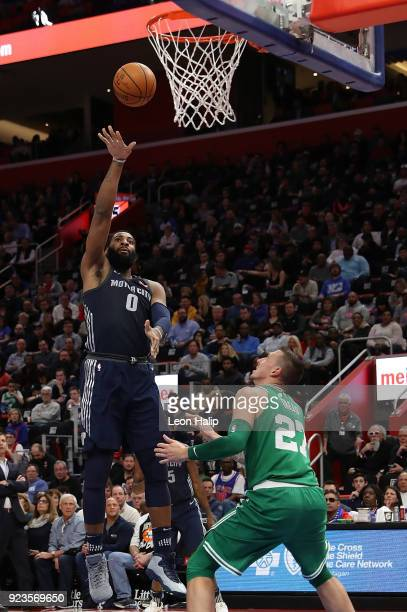 Andre Drummond of the Detroit Pistons shoots the ball as Daniel Theis of the Boston Celtics defends during the second quarter of the game at Little...