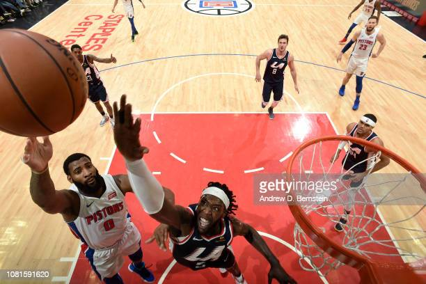 Andre Drummond of the Detroit Pistons shoots the ball over Montrezl Harrell of the LA Clippers on January 12 2019 at STAPLES Center in Los Angeles...