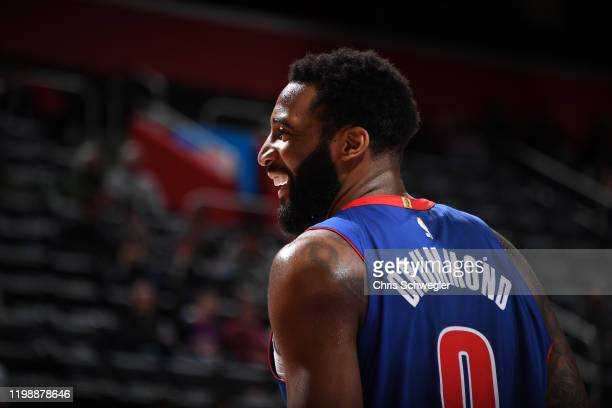 Andre Drummond of the Detroit Pistons smiles before the game against the Phoenix Suns on February 5 2020 at Little Caesars Arena in Detroit Michigan...