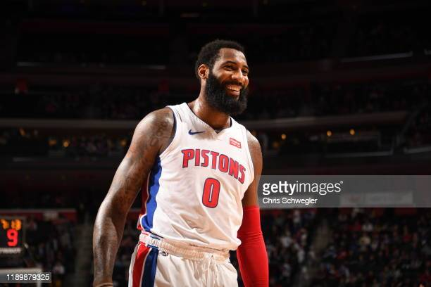 Andre Drummond of the Detroit Pistons smiles during a game against the Chicago Bulls on December 21, 2019 at Little Caesars Arena in Detroit,...