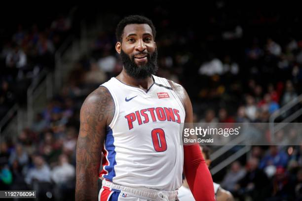 Andre Drummond of the Detroit Pistons smiles during a game against the Cleveland Cavaliers on January 9 2019 at Little Caesars Arena in Detroit...