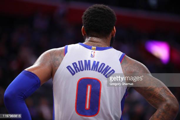 Andre Drummond of the Detroit Pistons while playing the Philadelphia 76ers at Little Caesars Arena on December 23, 2019 in Detroit, Michigan. NOTE TO...