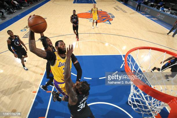Andre Drummond of the Los Angeles Lakers drives to the basket during the game against the New York Knicks on April 12, 2021 at Madison Square Garden...