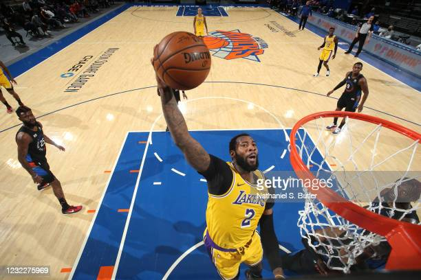 Andre Drummond of the Los Angeles Lakers dunks the ball during the game against the New York Knicks on April 12, 2021 at Madison Square Garden in New...
