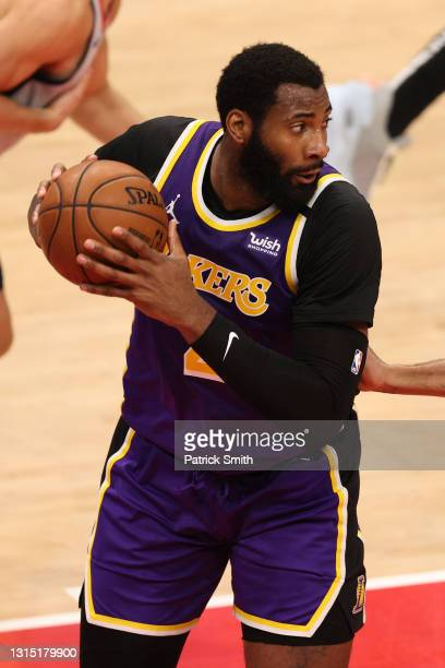 Andre Drummond of the Los Angeles Lakers in action against the Washington Wizards at Capital One Arena on April 28, 2021 in Washington, DC. NOTE TO...