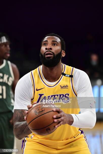 Andre Drummond of the Los Angeles Lakers looks on during the game against the Milwaukee Bucks on March 31, 2021 at STAPLES Center in Los Angeles,...