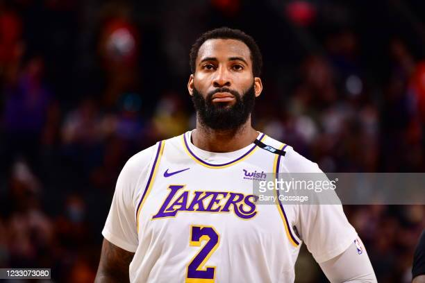 Andre Drummond of the Los Angeles Lakers looks on during the game against the Phoenix Suns during Round 1, Game 1 of the 2021 NBA Playoffs on May 23,...