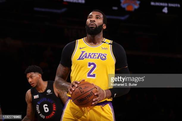 Andre Drummond of the Los Angeles Lakers looks to shoots a free throw during the game against the New York Knicks on April 12, 2021 at Madison Square...