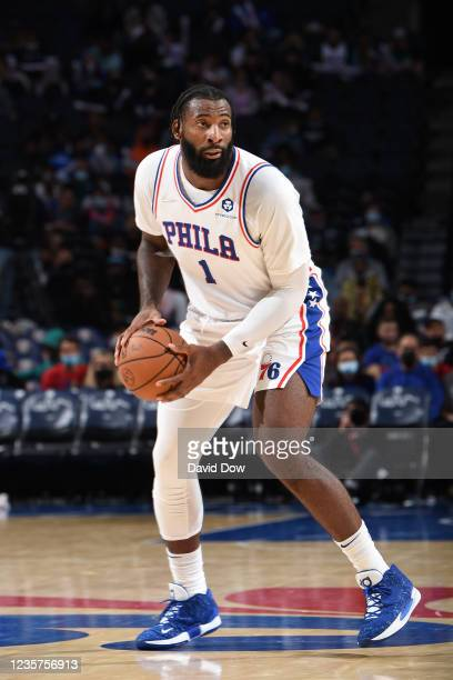 Andre Drummond of the Philadelphia 76ers handles the ball against the Toronto Raptors during a preseason game on October 7, 2021 at Wells Fargo...