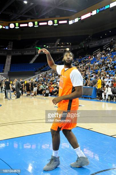 Andre Drummond participates in Monster Energy Outbreak $50K Charity Challenge celebrity basketball game at UCLA on July 17 2018 in Los Angeles...