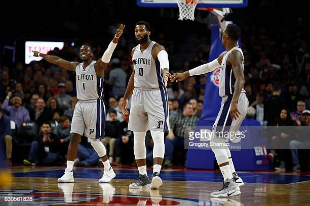 Andre Drummond Reggie Jackson and Kentavious CaldwellPope of the Detroit Pistons celebrate a first half basket while playing the Cleveland Cavaliers...