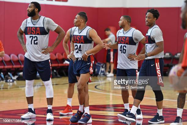 Andre Drummond Russell Westbrook and DeMar DeRozan look on during USAB Minicamp Practice at Mendenhall Center on the University of Nevada Las Vegas...