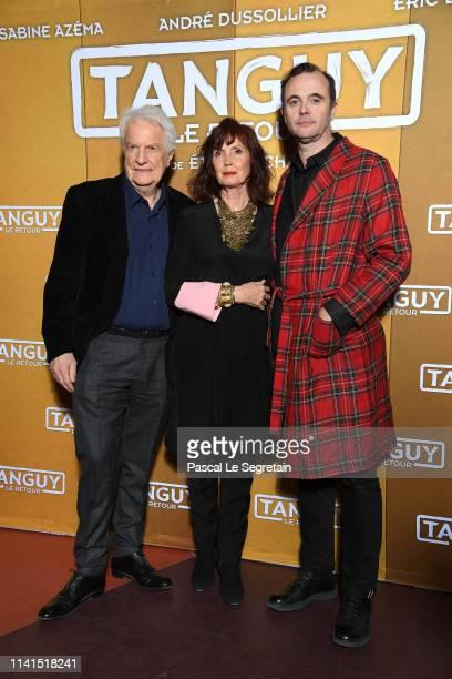 "Andre Dussolier, Sabine Azema and Eric Berger attend ""Tanguy Le Retour"" Premiere At Cinema Gaumont Capucines on April 09, 2019 in Paris, France."