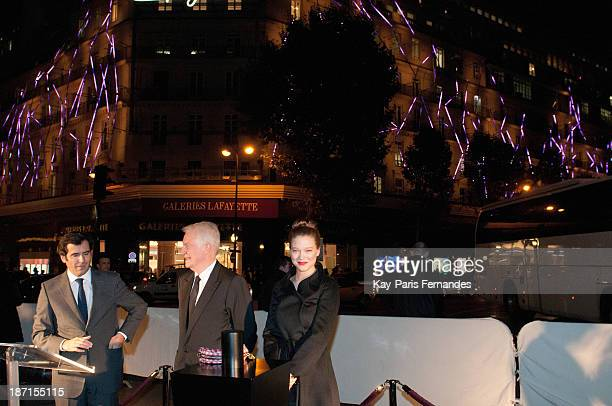 Andre Dussollier and Lea Seydoux attend the ceremony to unveil and switch on the Christmas decorations at Galeries Lafayette on November 6 2013 in...