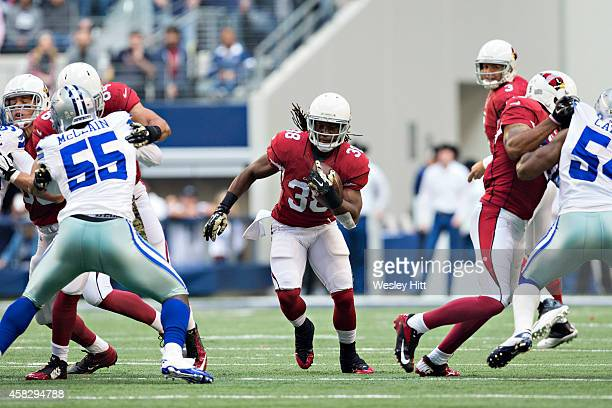 Andre Ellington of the Arizona Cardinals runs the ball in the first quarter during a game against the Dallas Cowboys at ATT Stadium on November 2...
