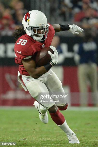 Andre Ellington of the Arizona Cardinals runs with the football in the NFL game against the Dallas Cowboys at University of Phoenix Stadium on...