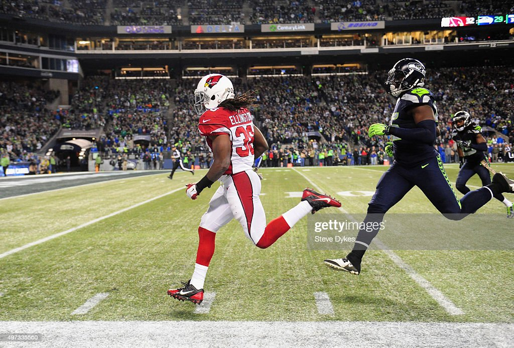 Andre Ellington #38 of the Arizona Cardinals rushes for a 48-yard touchdown during the fourth quarter against the Seattle Seahawks at CenturyLink Field on November 15, 2015 in Seattle, Washington.
