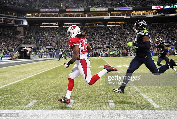 Andre Ellington of the Arizona Cardinals rushes for a 48yard touchdown during the fourth quarter against the Seattle Seahawks at CenturyLink Field on...