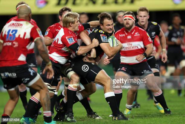 Andre Esterhuizen of the Cell C Sharks during the Super Rugby match between Cell C Sharks and Emirates Lions and at Jonsson Kings Park Stadium on...