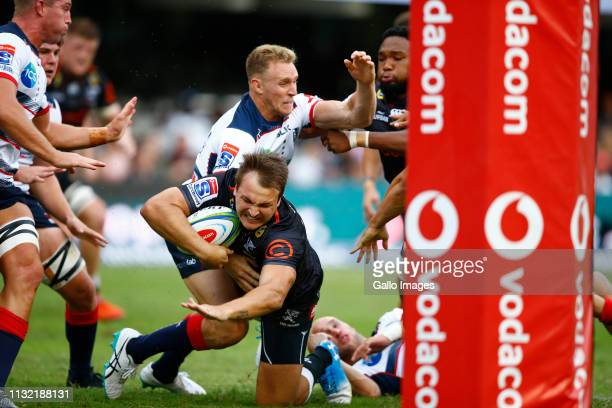 Andre Esterhuizen of the Cell C Sharks just short of the try line during the Super Rugby match between Cell C Sharks and Rebels at Jonsson Kings Park...